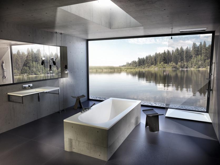 Praktyczną, prostokątną wannę z kolekcji Boomerang można zamontować w centralnym miejscu łazienki. Fot. Vayer.