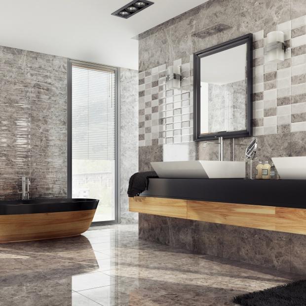 Modna łazienka – płytki jak cegły