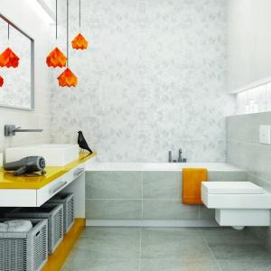 Płytki łazienkowe: ścienne z kolekcji Emilly, podłogowe z kolekcji Milio. To przemyślana propozycja na łazienkę zarówno dla kobiety, jak i mężczyzny. Fot. Ceramika Paradyż.