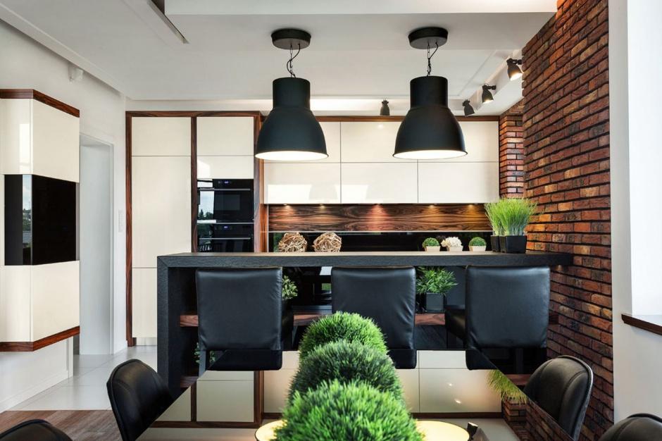 Loftowe lampy, nowoczesne 12 sposobów na cegłę w kuchni  Strona 10 -> Kuchnia Brick Vigo