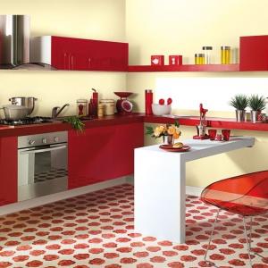 Kolorowe meble kuchenne i posadzka zestawiono z bardziej stonowaną, bladożółtą ścianą. Fot. Śnieżka.