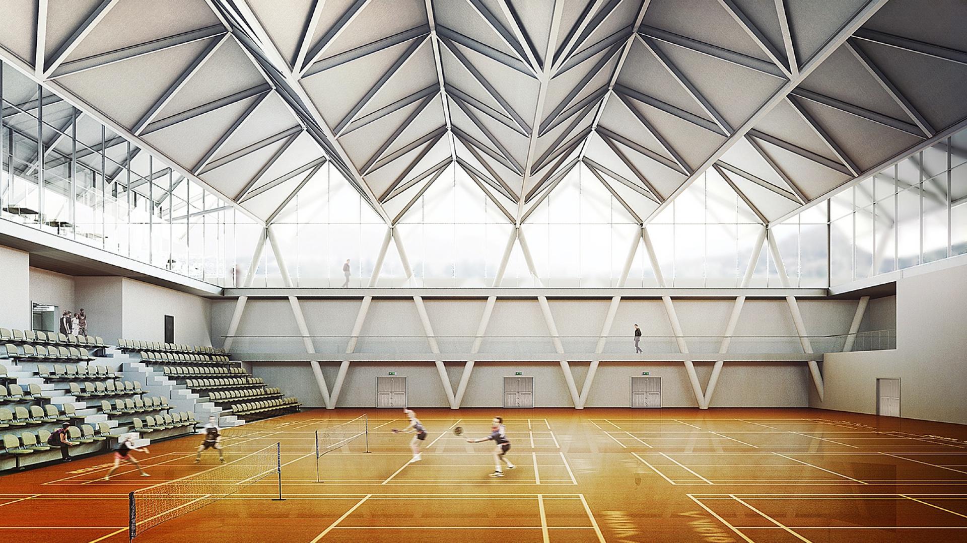 Wnętrze Sali głównej może pomieścić 10 pełnowymiarowych kortów do badmintona. Stylistyka wnętrza nawiązuje do lotki badmintonowej. Fot. BXBstudio