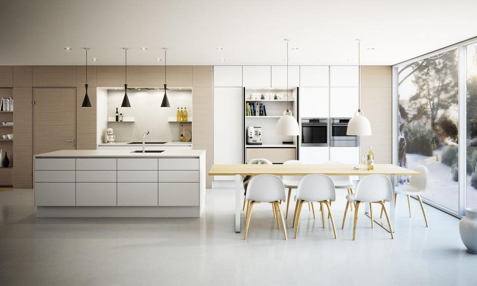 Elegancka kuchnia w Biała kuchnia ocieplona drewnem   -> Kuchnia Biala Ocieplona Drewnem