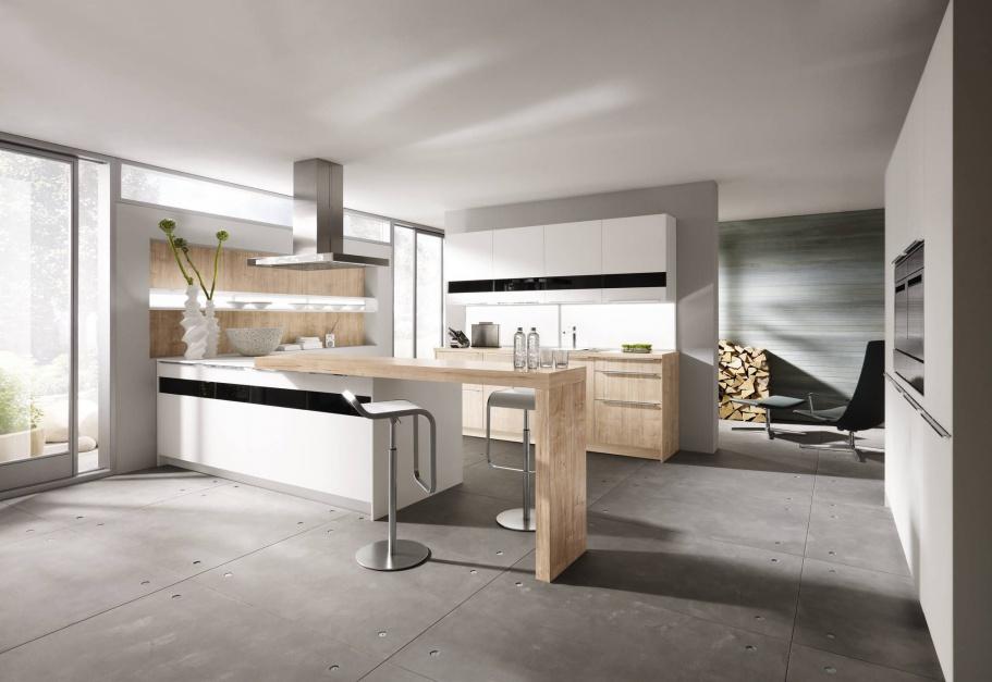 Nowoczesna kuchnia, w Biała kuchnia ocieplona drewnem   -> Kuchnia Biala Ocieplona Drewnem