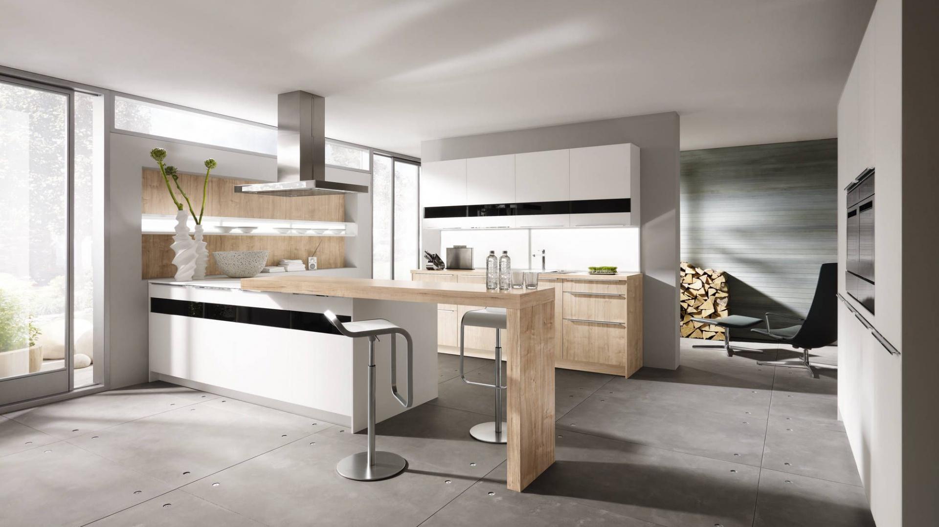 Nowoczesna kuchnia, w Biała kuchnia ocieplona drewnem   -> Kuchnia Nowoczesna Z Drewnem