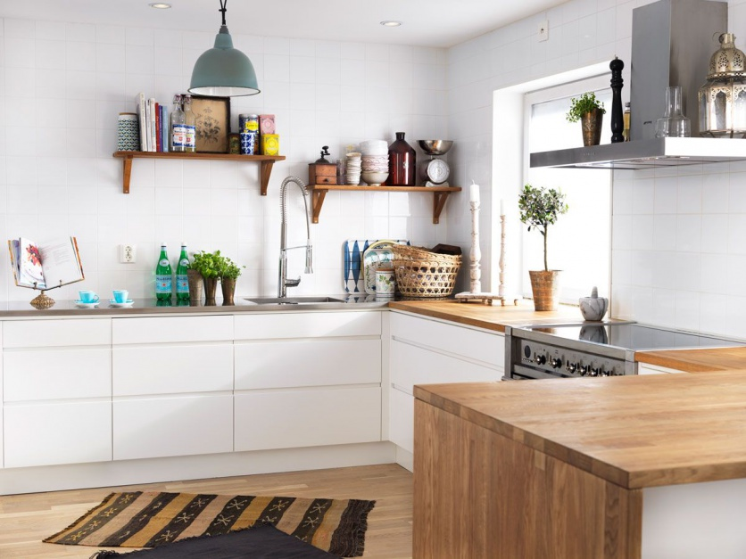 Biała kuchnia ocieplona drewnem -> Kuchnia Biala Ocieplona Drewnem