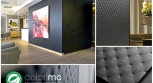Colorimo Soft 9005 to szkło ornamentowe pokryte czarnym lakierem dające wspaniały efekt pikowanego materiału.