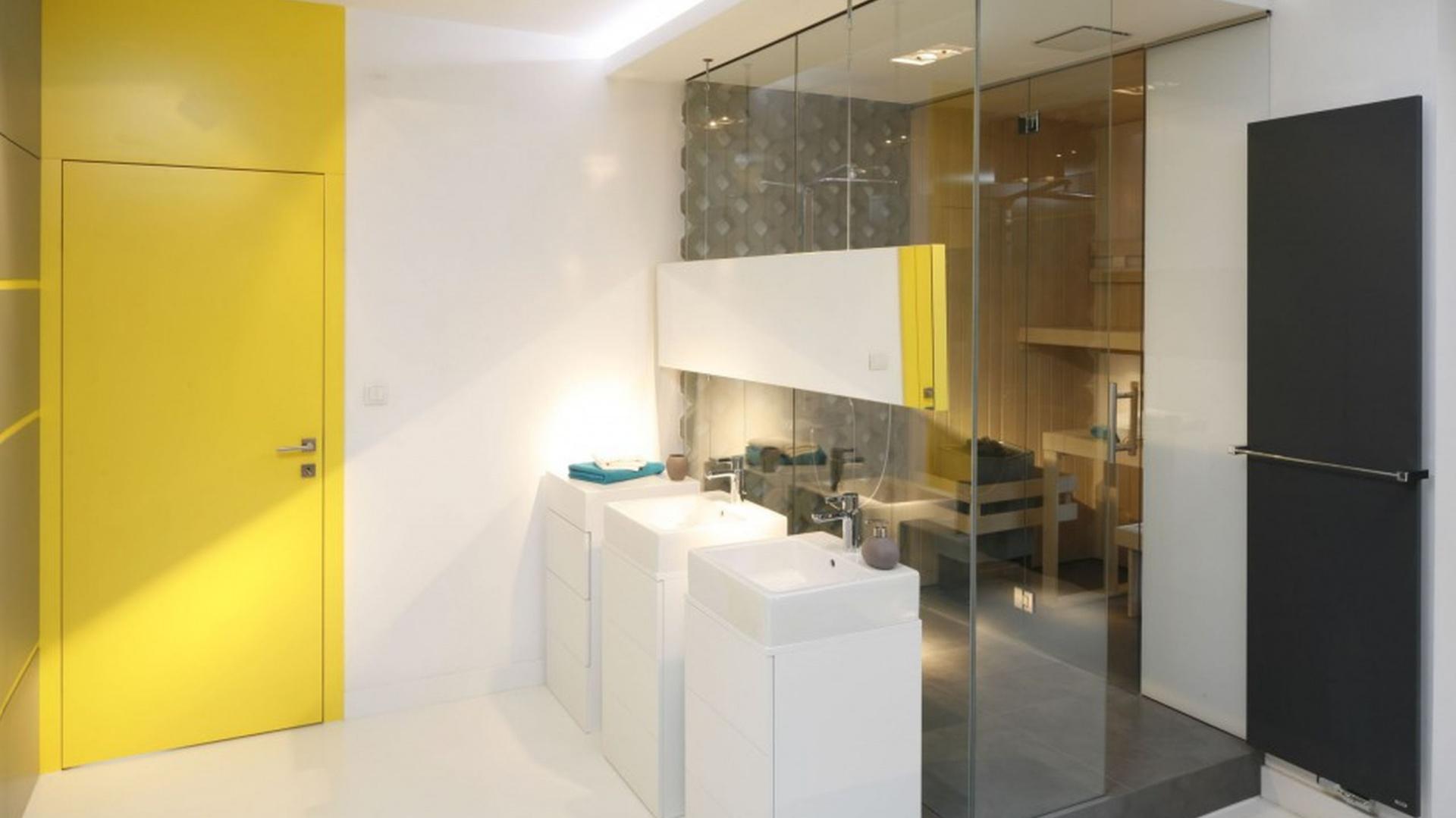Strefa prysznica w tej loftowej aranżacji znajduje się tuż za szklaną ścianą. Projekt: Monika i Adam Bronikowscy. Fot. Bartosz Jarosz.
