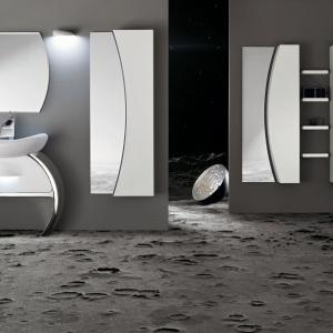 Moon marki Cerasa to kolekcja wyposażenia łazienki; meble o nietypowych kształtach i oryginalnych, półokrągłych  liniach. Fot. Cerasa.