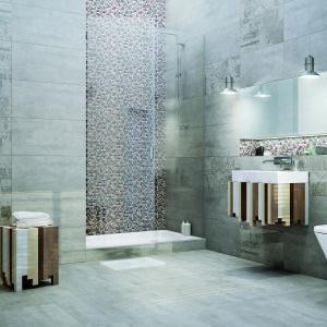 Patchworkowy wzór naniesiony na tło stylizowane na beton – płytki ceramiczne Loft marki Ceramstic. Fot. Ceramstic.