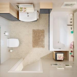 W obudowie wanny są ukryte skrytki na kosmetyki - łazienka z wyposażeniem Smart marki Cersanit. Fot. Cersanit.