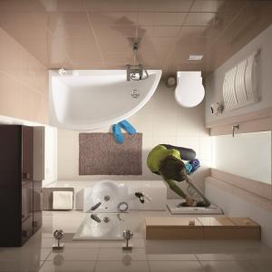Asymetryczną wannę łatwiej wpasować w nieustawne pomieszczenie – łazienka z serią Nano marki Cersanit. Fot. Cersanit.