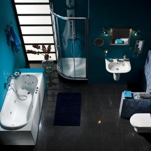 Z kabiną we wnęce - łazienka z wyposażeniem Nexo firmy Roca. Fot. Roca