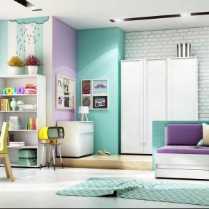 W kolekcji Click znajdują się nowoczesne meble, które nadadzą wnętrzu nastolatka modny styl. Łóżko z kolorową tapicerką dodatkowo ociepli aranżację. Fot. Timoore.