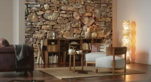 Jak szybko i tanio całkowicie zmienić wystrój salonu? Z pomocą przyjdą fototapety imitujące kamień, drewno i cegłę.