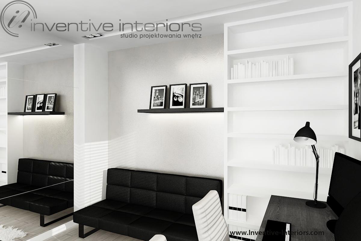 Wąski gabinet, kanapa rozkładana. Fot. Inventive Interiors.