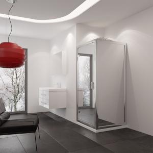 Mogą być całe lustrzane albo połączone ze szkłem przezroczystym – drzwi prysznicowe Lumina firmy New Trendy. Fot. New Trendy.
