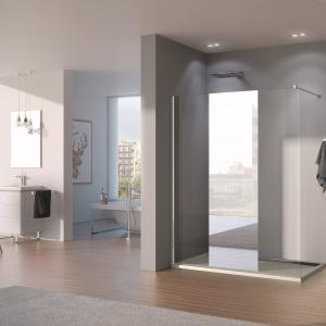 Z wysokim pasem lustra - kabina prysznicowa PUR - PDT4P A66 firmy SanSwiss. Fot. SanSwiss.