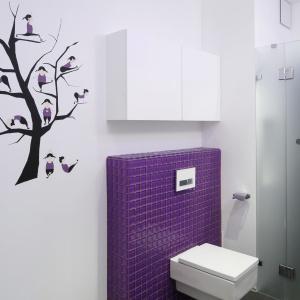 Fioletowa mozaika ożywia wnętrze urządzone w bieli. Projekt: Michał Mikołajczak. Fot. Bartosz Jarosz.