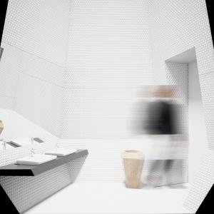 I Wyróżnienie w konkursie Projekt Łazienki 2015. Pojawiającą się geometryczność we wnętrzu podkreślono surowością i białym kolorem ścian o drobnej fakturze. Fot. KOŁO.