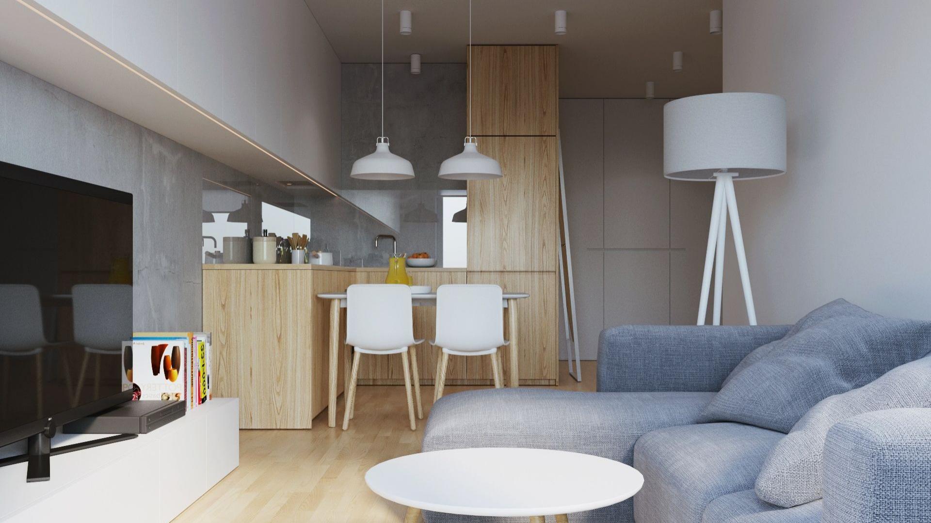 Serce mieszkania stanowi otwarta strefa dzienna, w obrębie której urządzono kuchnię otwartą na salon oraz niewielką jadalnię, wyznaczającą granicę pomiędzy dwiema strefami. Projekt i wizualizacje: 081 Architekci.
