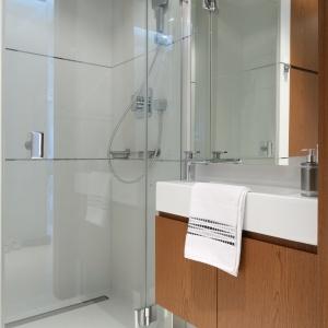 Mała łazienka z dużym prysznicem i szafkami lustrzanymi. Powierzchnia: około 3 m². Projekt: Anna Maria Sokołowska. Fot. Bartosz Jarosz.