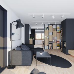 Otwartą strefę dzienną zaaranżowano w taki sposób, aby zapewnić domownikom intymność i czytelny podział pomiędzy poszczególnymi strefami. Projekt i wizualizacje: 081 Architekci.