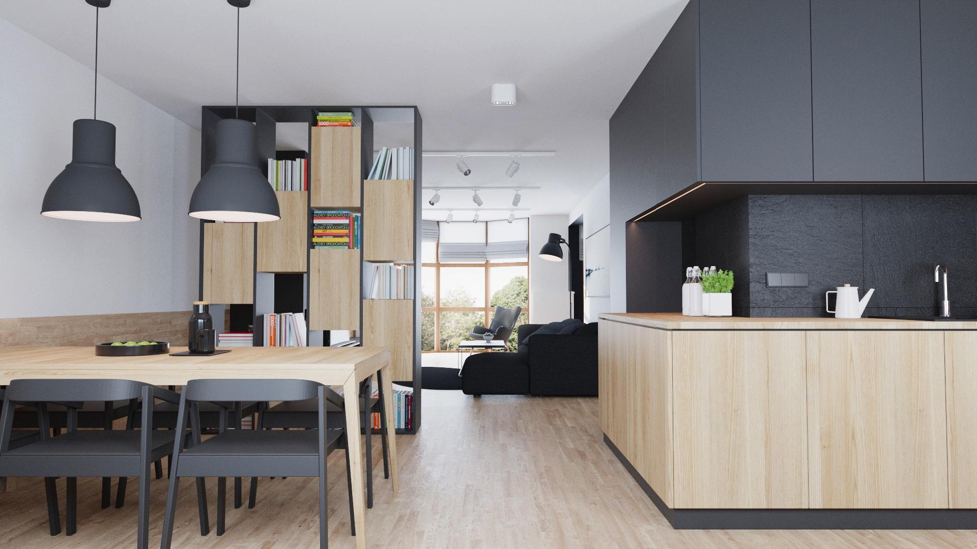 Umowną granicę pomiędzy strefą spożywania i przygotowywania posiłków a salonem wyznacza wysoka biblioteczka. Projekt i wizualizacje: 081 Architekci.
