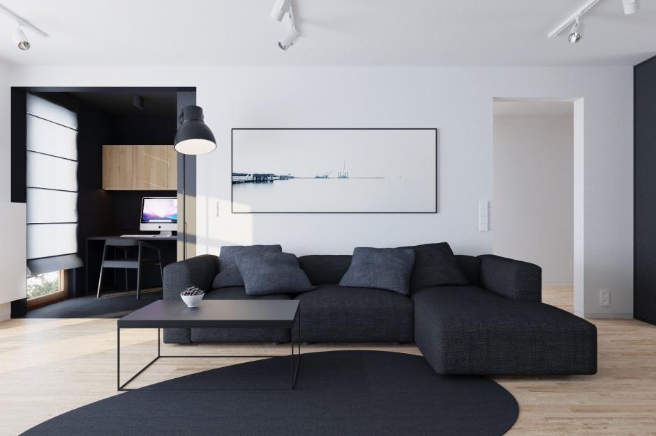 Salon urządzono w Nowoczesne wnętrze małe mieszkanie w Lublinie  Stron   -> Otwarta Kuchnia Male Mieszkanie
