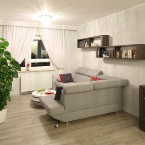 Nieduży salon urządzono tak, by strefa wypoczynku była dyskretnie oddzielona od reszty pomieszczenia. Projekt: Małgorzata Goś, Agata Balicka. Fot. Bartosz Jarosz.