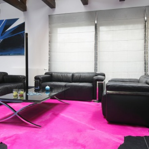 W nowoczesnym salonie różowy, skórzany dywan stanowi mocny dodatek dekoracyjny. Projekt: Łukasz Hoffman, Michał Wielecki. Fot. Bartosz Jarosz.