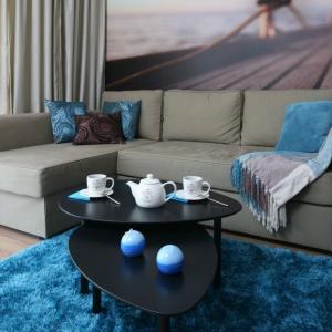 W niedużym salonie postawiono na turkusowe dodatki. W takim kolorze jest też puszysty dywan. Projekt: Anna Maria Sokołowska. Fot. Bartosz Jarosz.
