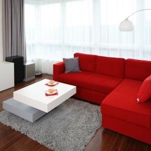 Nowoczesny salon urządzono w palecie minimalistycznych barw. Szary dywan doskonale komponuje się z czerwoną sofą. Projekt: Iza Szewc. Fot. Bartosz Jarosz.