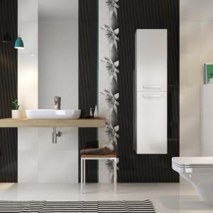 Biało-czarna łazienka z efektem 3D - płytki ceramiczne Negra marki Cersanit. Fot. Cersanit.