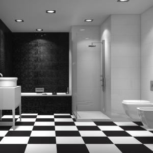 Część ścian białych, część czarna i szachownica na podłodze – płytki ceramiczne Sun firmy Ceramica Tau. Fot. Ceramica Tau.