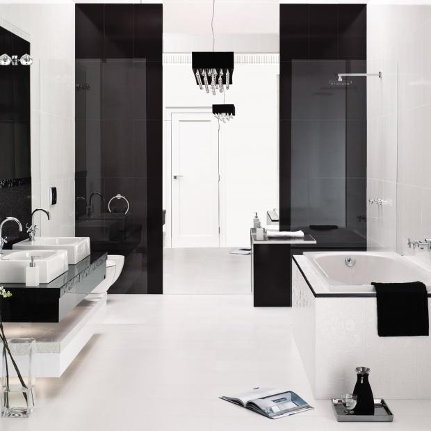 Biało-czarna łazienka. 15 najpiękniejszych płytek ceramicznych