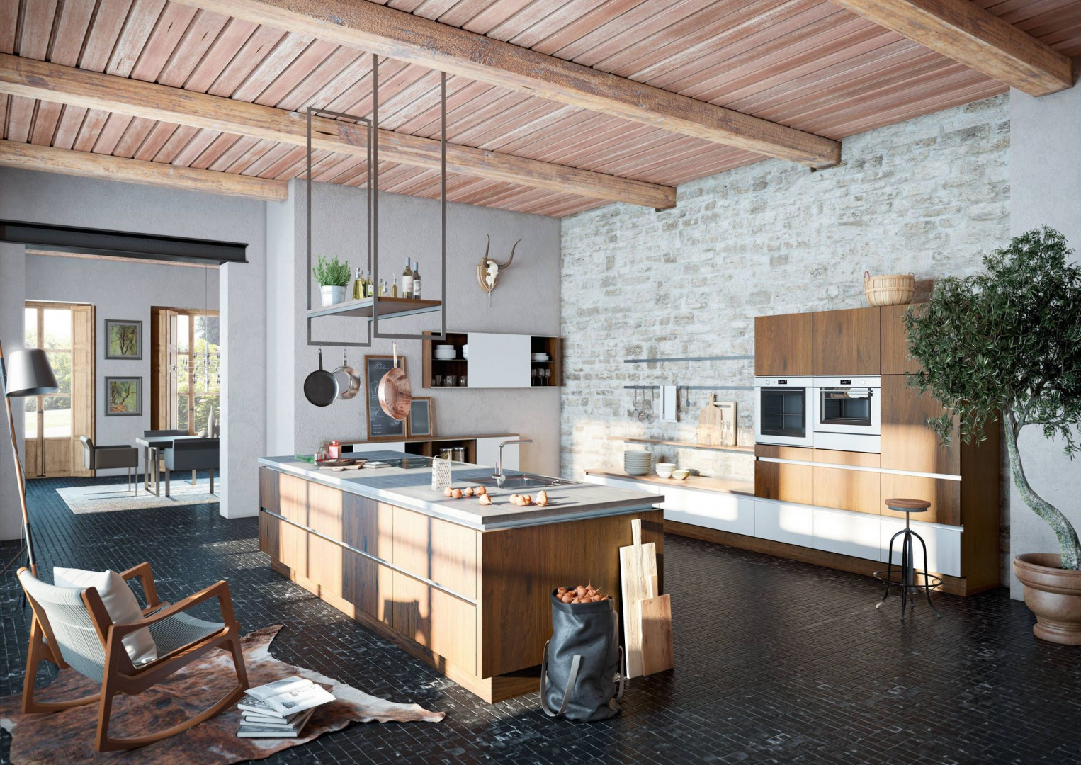 W tej kuchni meble są Cegła, kamień, drewno tak   -> Kuchnia I Cegla