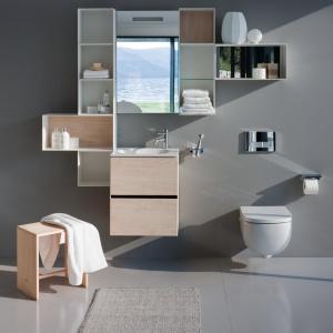 Bez cokołów, z materiałów odpornych na wilgość – meble łazienkowe Palomba Collection firmy Laufen. Można łączyć kolory i szafki w różnych wymiarach tworząc indywidualne zestawienia. Fot. Laufen.