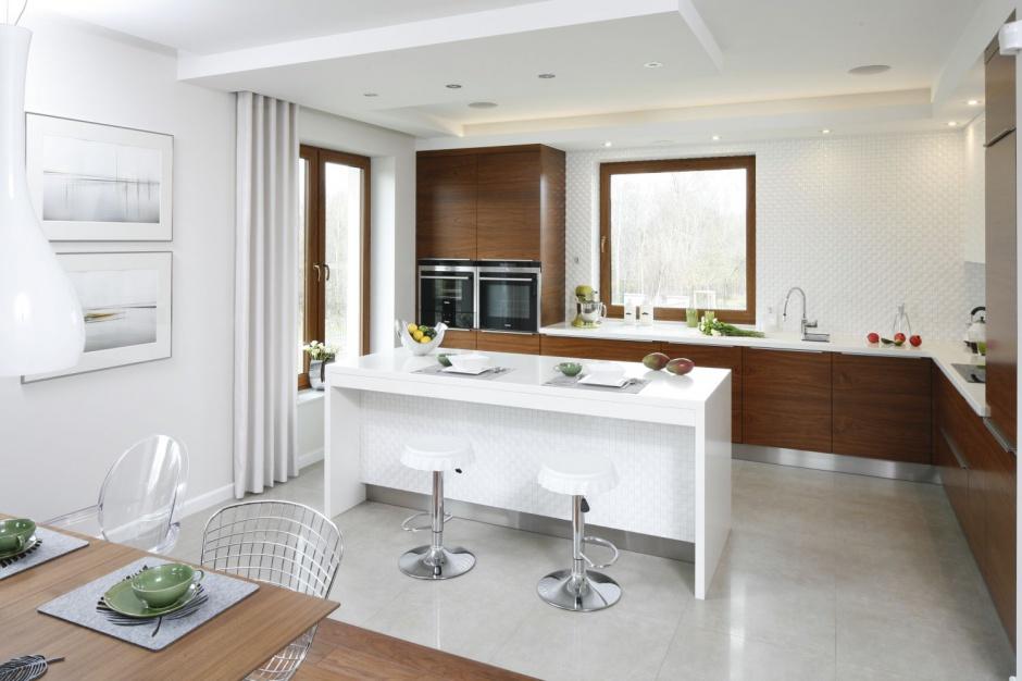 Za pomocą materiałów, Salon z kuchnią i jadalnią   -> Meble Kuchnia Salon