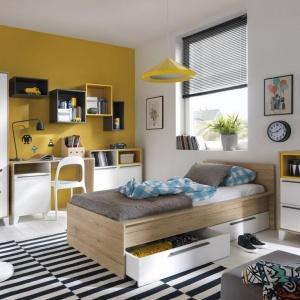 Zestaw Zoe to nowoczesny system idealny do pokoju młodzieżowego. Jednym z głównych elementów kolekcji jest praktyczne łóżko z szufladami. Fot. Intermeble.
