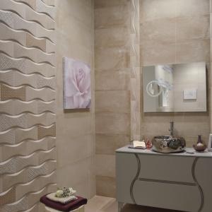 Modne połączenie faktury 3D, patchworku i beżów - płytki ceramiczne Elite firmy Azteca Ceramica. Fot. Azteca Ceramica.