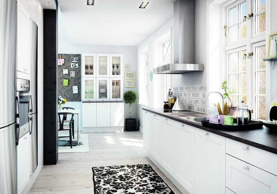 Białe meble kuchenne, Kuchnia skandynawska zobacz najlepsze aranżacje  -> Kuchnia Z Jadalnia Skandynawska