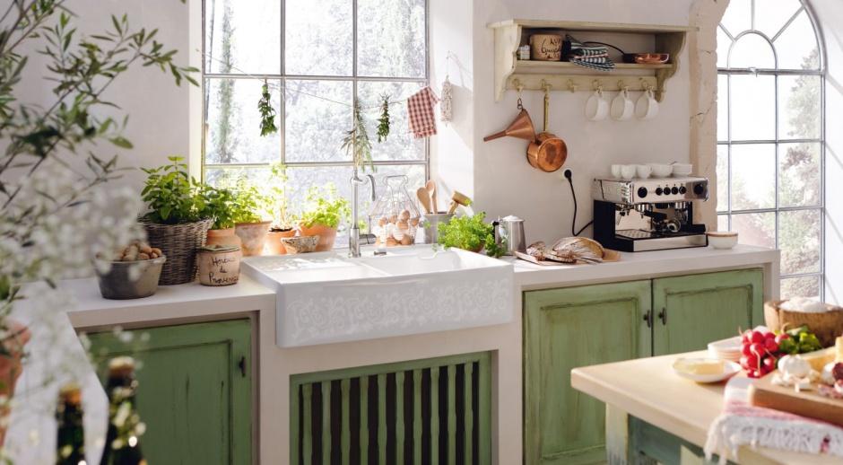 Ceramiczny zlewozmywak w Klasyczna kuchnia w stylu   -> Kuchnie W Prowansalskim Stylu