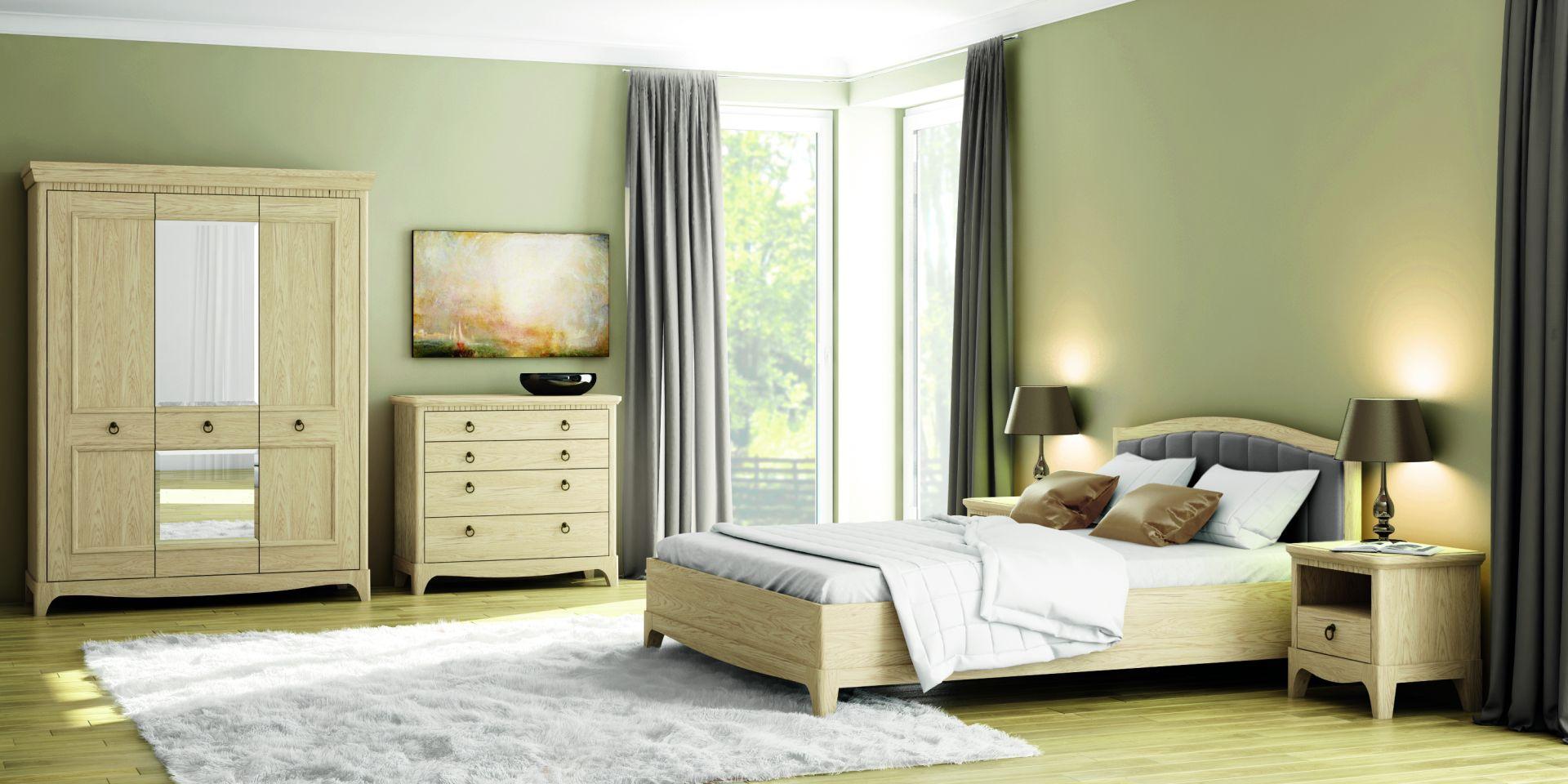 Aranżacja sypialni meblami z kolekcji Gusta. Piękne rysunki drewna doskonale komponują się tu z tapicerowanym zagłówkiem. Fot. Paged Meble.