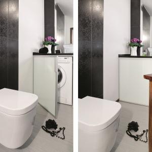 Dużo lustro dwukrotnie powiększa małą łazienkę. Powierzchnia: ok. 4 m². Projekt: Dominika Grabowska. Fot. Monika Filipiuk-Obałek.