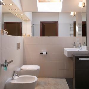 Bardzo dobrze oświetlona łazienka, m.in. punktowymi halogenami. Projekt: Daria Zaremba. Fot. Fot. Tomasz Markowski.