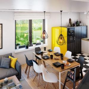 Widok z góry na otwartą część dzienną domu pokazuje świetne rozplanowanie wszystkich jej stref. Meble, lampy i dodatki widoczne na wizualizacji dostępne są w sklepie archonhome.pl.