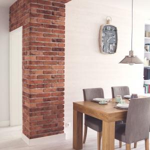 Sterylność bieli przełamano pasem czerwonej cegły na ścianie i suficie. Projekt: Meblościanka Studio. Fot. Maua Fotografia.