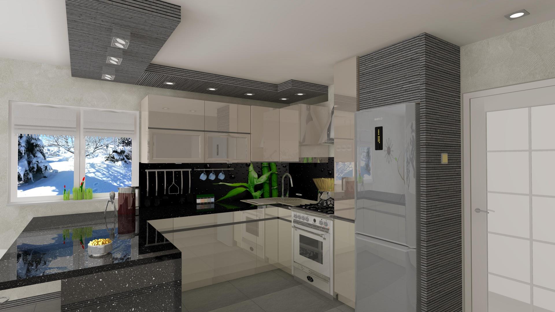 Duża kuchnia w domu jednorodzinnym. Klientom zależało aby miejsce było nowoczesne, miało zabudowaną lodówkę. Udało się wygospodarować dużą przestrzeń blatów. Fot. Wizja Wnętrza.jpg
