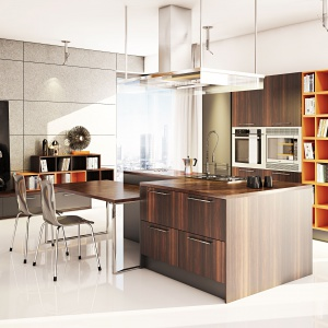 W wysokiej zabudowie wyodrębniono innym kolorem pas półek, które posłużyły za podręczną biblioteczkę, np. na książki kucharskie. Fot. Moelke Kuchnie, kuchnia Moelkepunto Sosna Termo.
